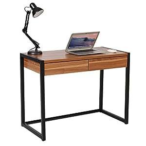 Woltu Escritorio de Ordenador Mesa de Oficina Mesa de Trabajo PC Mesa de Ordenador portátil, con 2 cajones, de Madera y Acero, 100x50x76cm Haya Oscura ...