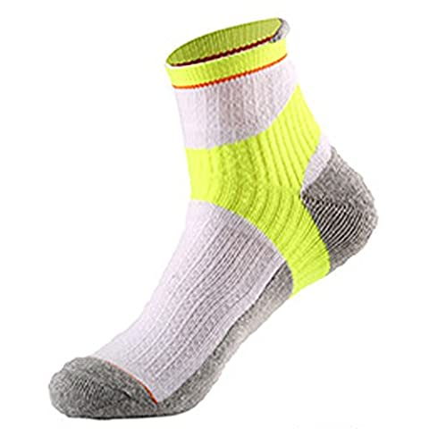 Aiyuda Men's Cotton Comfortable Work Athletic All Sport Crew Socks Cushioned Color for Running Cycling 1 Pair White Yellow