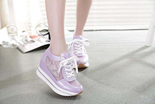 de estudiantes de las aumento Zapatos mujer de casual grueso inferior transpirable mujeres deportes morado Los del muffins los malla mujeres zapatos dentro parte dxzw7zI8
