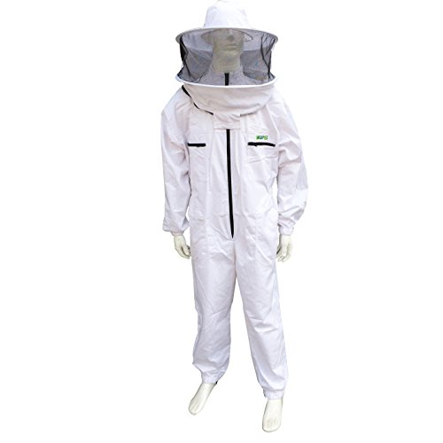 WANGSHI Underarm Zippered 100% Cotton Air-Through Lightweight Beekeeping Suit with Hat-Veil Combo Beekeeper Protection Clothing Suit Beekeeping Clothes (Medium) Combo Suit