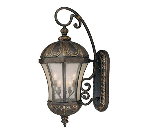 Savoy House 5-2502-306 Outdoor Sconce with Pale Cream Seeded Shades, Old Tuscan Finish (Tuscan Outdoor Lamp)