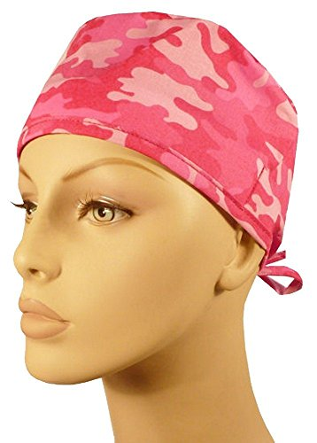 Mens-and-Womens-Surgical-Scrub-Cap-Kickin-Camo-Hot-Pink