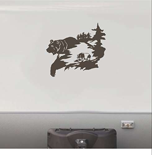 Bear Fishing Hunting RV Camper Vinyl Decal Sticker Graphic Mountain Scene Mural