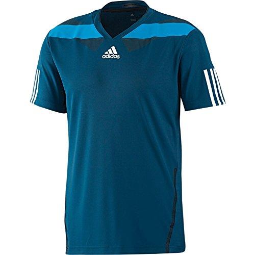 Men's AdiPower Barricade Tennis Crew T-Shirt, Tribe Blue/Wht/Solar Blu, Medium