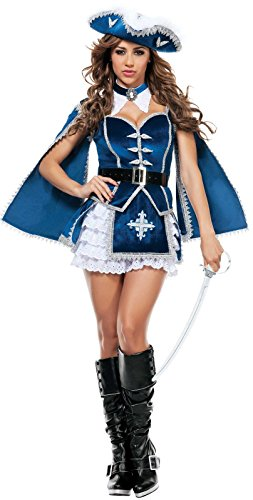 Musketeer Costume Female (Starline Women's All For You Musketeer Sexy Costume Set, Blue/Silver, Medium)