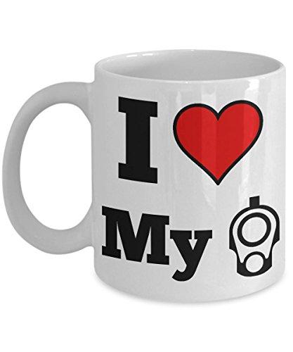 1911 Pistol Lovers Coffee Mug - I Heart My 1911 - M1911 Gun Muzzle Novelty Cup