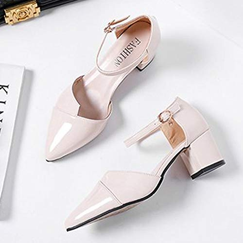 Heel Toe PU Women's Beige amp; Shoes Polyurethane Pink Spring ZHZNVX Summer Strap Pointed Pink Ankle Heels Chunky qPROx