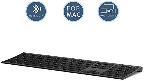 Multi-Device Keyboard for Mac OS/ iOS/ iPad OS Jelly Comb Bluetooth Keyboard for MacBook Pro/Air iMac iPhone iPad Pro/ Air/ Mini New iPad| Connect Up To 3 Devices (Space Gray Rechargeable)