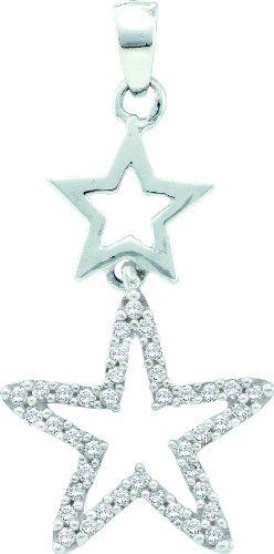 10 k or blanc Diamant 0.11 Dwt-Pendentif étoile or de haute qualité Or 9 Carats JewelryWeb