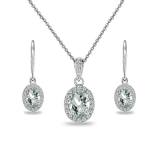 Sterling Silver Light Aquamarine & White Topaz Oval Halo Necklace & Leverback Earrings Set