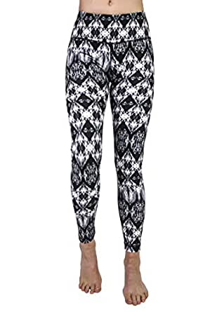 90 Degree By Reflex Performance Activewear - Printed Yoga Leggings - Cavern Black Grey - XS