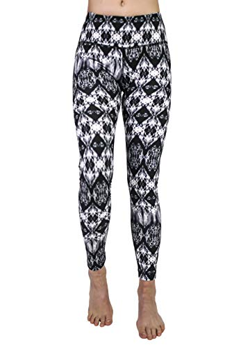 90 Degree By Reflex Performance Activewear - Printed Yoga Leggings - Cavern Black Grey - XL ()