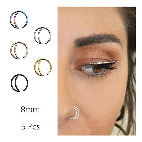 Moon Nose Ring Hoop 20g Surgical Steel Nose Rings Septum Nose Ring Body Piercing Jewelry for Women Girls 5PCS