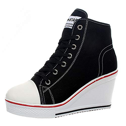 Women High Heel Sneaker Canvas Lace Up Fashion Shoes High Top Wedges Casual Sneaker Side Zipper Fashion Sneakers (6.5, Black) (High Top Chuck Taylors With Skinny Jeans)