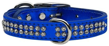 16\ Mirage Pet Products Two Row Clear Crystal Metallic Leather bluee Dog Collar, 16