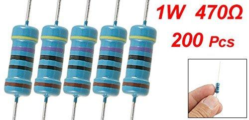 eDealMax a11101900ux0074 200 Pezzo cavo assiale a Film metallico del resistore, 470 Ohm 1W 1%