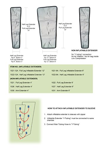 "Air Compression Garment - Full Leg, Half Leg, Arm, Waist, Extender, Hose Etc (Extender Full Leg 4"")"