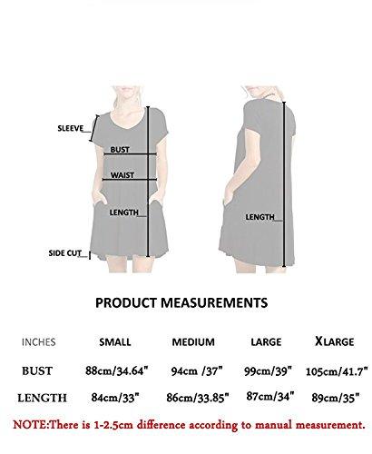 MRstriver Women's Casual Swing Flowy Plain Simple Cotton T-shirt Loose Dress Ad Grayblue_pocketMedium