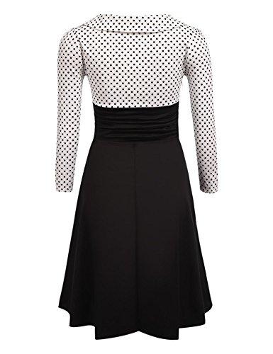 Weise Hülse und Hohe Taille Linie O Art A Kleid Pagacat Weiß Frauen Punkt Lange Ansatz p0xfxtn