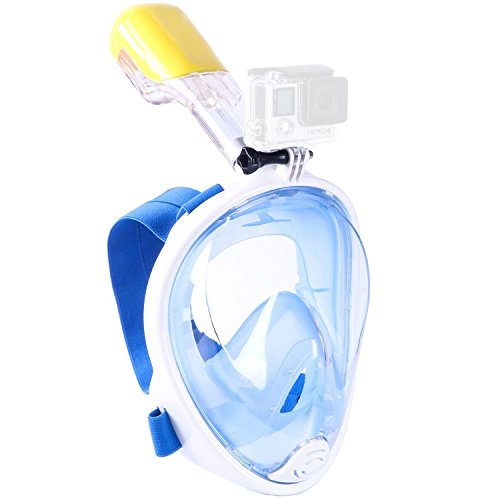 Snorkel Mask 180° View Gopro Compatible Free Breath with Anti-fog and Anti-leak Technology for Adults and Kids