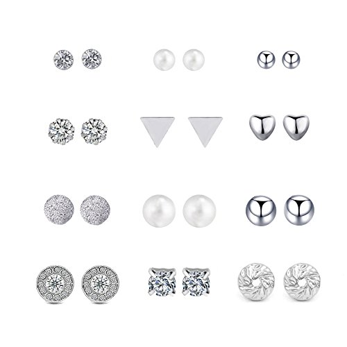 Boosic 12 Pair Dainty Crystal Pearl Earring Set Ear Stud Jewelry Gift Silver Color