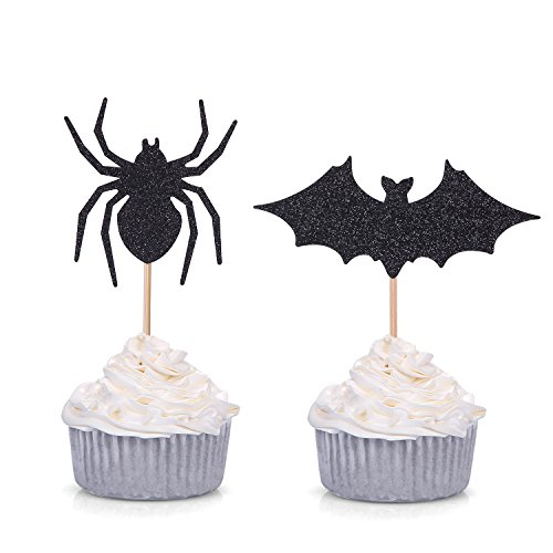 Halloween Cupcakes With Pictures (Set of 24 Black Spider and Bat Cupcake Toppers Halloween Party Picks - by Giuffi)