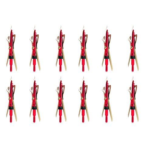Will-X New Upgrade Red Arrow Heads Archey Broadhead 4 Blades Hunting Fishing 100 Grain (12PCS) (Rage Expandable Broadheads)