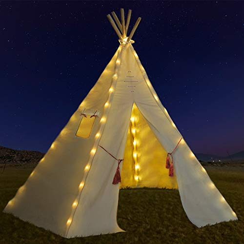 Nature's Blossom Fairy Lights for Kids Teepee Tents - Battery Operated. Set of 5 Strings with 75 Bright LED Bulbs. Universal Design - Our Light Set Fits Most Kids Playhouses. Teepee Tent NOT Included