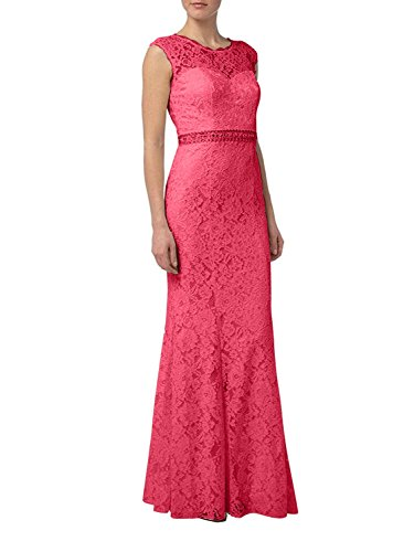 mia Schnitt Lang Ballkleider Wassermelon Spitze Braut Glamour Etuikleider La Brautmutterkleider Figurbetont Schmaler Abendkleider FqnTd1Fwx