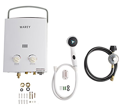 (Marey GA5PORT Portable Propane Gas Tankless Water Heater, Small, White)