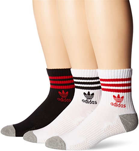 adidas Men's Originals Cushioned High Quarter Sock , Large, White/Scarlet/Heather Grey/Black