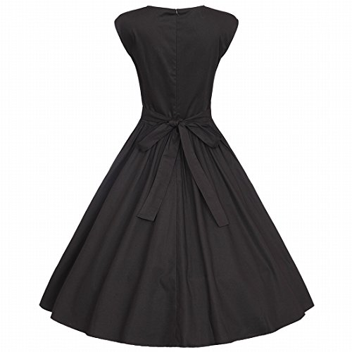 with Swing Coolred Gown Back Women Zipper Black Party Dress Classy Pinup Ball wS5EqRC
