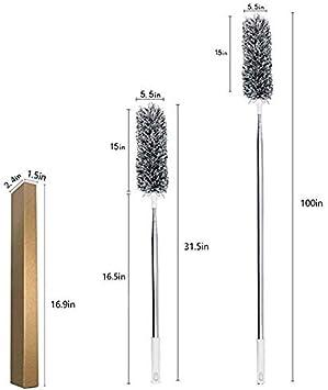 Gris poudres t/élescopiques extra-longues en acier inoxydable de 100pouces avec capuchon en silicone souple plumeau en microfibre d/étachable et pliable Plumeau extensible