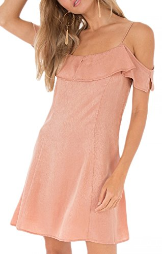 Dusty Peach - Black Swan BD181332 Amelie Ruffle Shoulder Dress in Dusty Peach (Small)