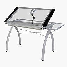 Studio Designs 10096 Futura Craft Station-Folding Shelf, White with Clear Glass