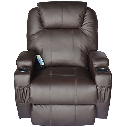 Price comparison product image Eight24hours Massage Recliner Sofa Leather Vibrating Heated Chair Lounge Executive w/ Control - Brown