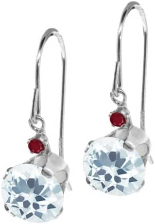 1.54 Ct Round Sky Blue Aquamarine Red Ruby 14K White Gold Earrings