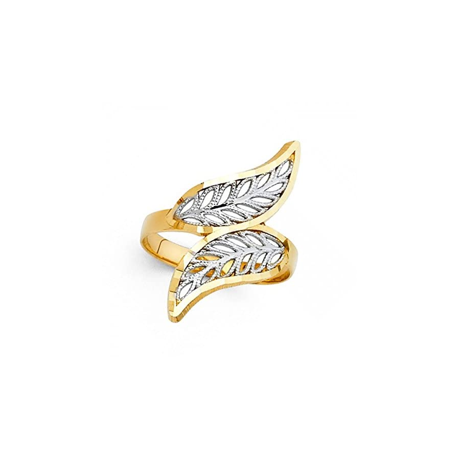 14k Yellow & White Gold Leaf Ring Curved Band Diamond Cut Filigree Design Fancy Two Tone 26MM