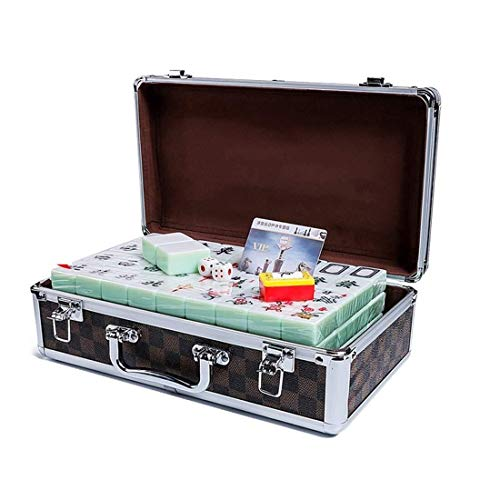 Mahjong Set, Aluminum Case Packaging Emerald Color Home Travel Portable 144 Melamine Mahjong, Suitable For Family Gatherings/business Gifts (443323 Mm) (Color : Emerald) ()