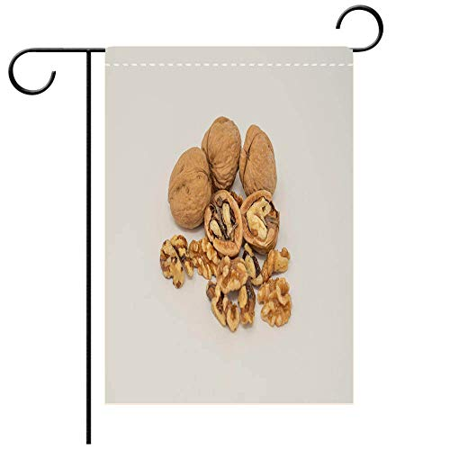 (BEICICI Garden Flag Double Sided Decorative Flags Whole and Half Broken Walnuts Against White Background Best for Party Yard and Home Outdoor Decor)