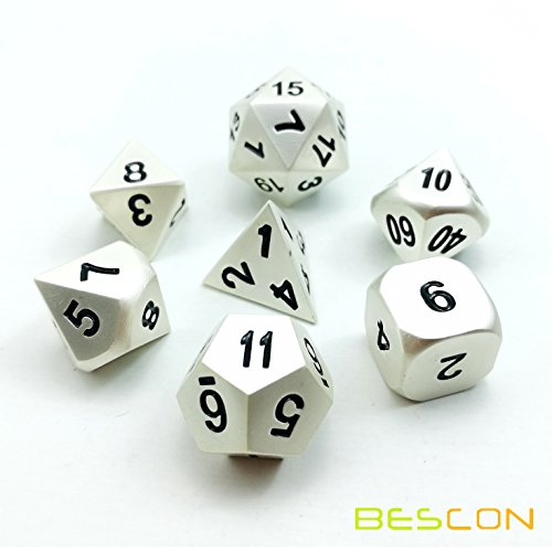 Pearl Matt - Bescon RPG Metal Dice Set of 7 Matt Pearl Silver Effect Solid Metal Polyhedral RPG Role Playing Game Dice 7pcs Set