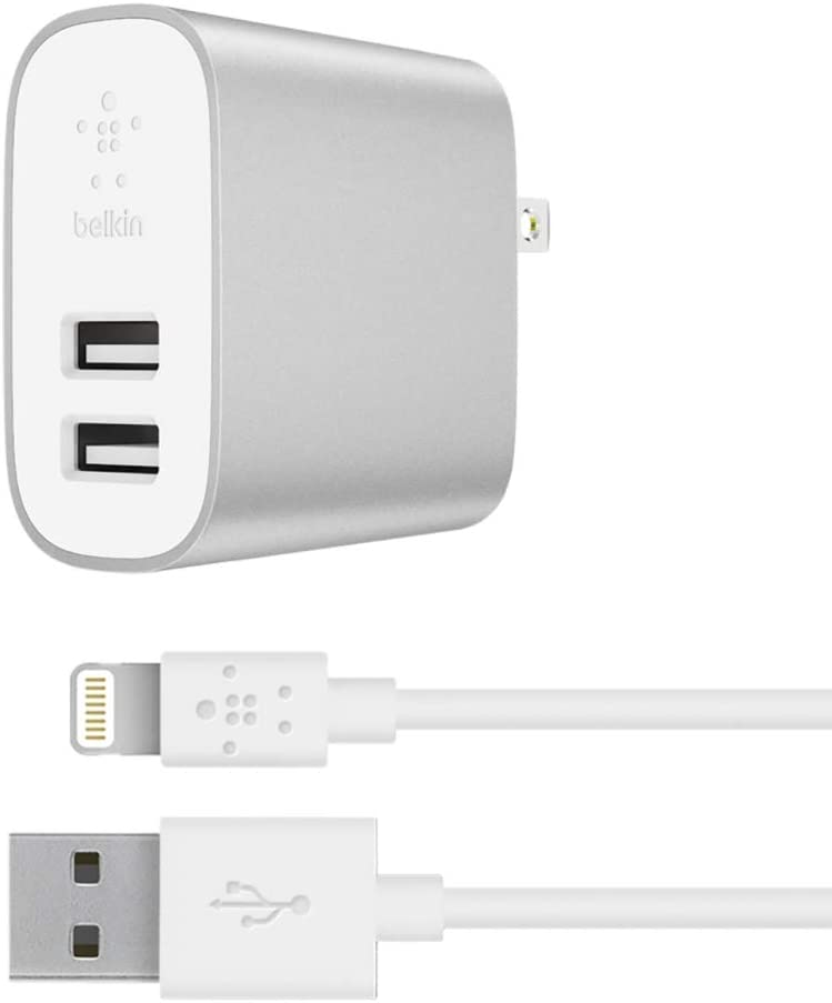 Belkin Boost Charge 2-Port Wall Charger + Lightning Cable (24W Multi-USB Charger for iPhone 11, 11 Pro, 11 Pro Max, XS, XS Max, XR, Samsung Note 9, S9, S9+ and more)