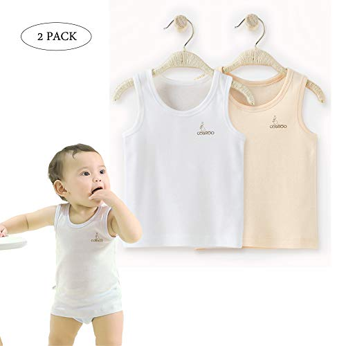 COBROO Baby Boy Girl Tank Tops Unisex Cotton Sleeveless T-Shirts 2-Pack Cami Undershirt 9-12M Kids White+Khaki by COBROO