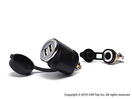 Mini Cliff-Top/® 2.1 Amp Adattatore USB con Presa Hella//DIN