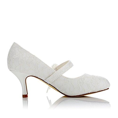 de Satin Mi Mariée JIA Fleur Satin Mariage Imitation Bout Femme 586449 Fermé Pour Ivoire de Chaussures Pompes Dentelle Chaussures Talon JIA 7wfqzEw
