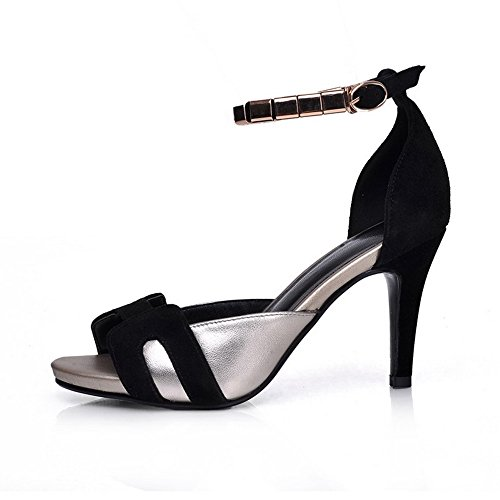 AllhqFashion Womens Open Peep Toe High Heels Cow Leather Sandals with Metal Chain Wristbands Black 1YdfcT0W