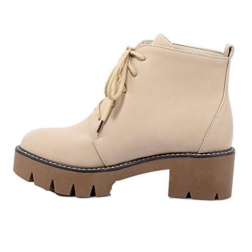 Shoes Ageemi Talon Bottes D'orteil Abricot À Haut Femme Lacet Bas Fermeture Pu Cuir dTxrqT