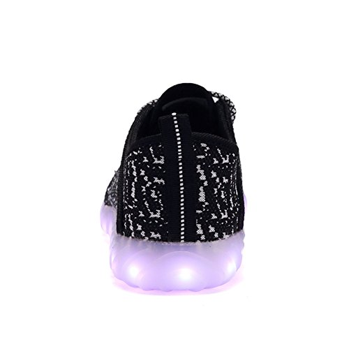EQUICK Kinder LED Leuchten Schuhe Breathable stricken Kinder Casual Laufschuhe (kleines Kind / großes Kind) C.schwarz