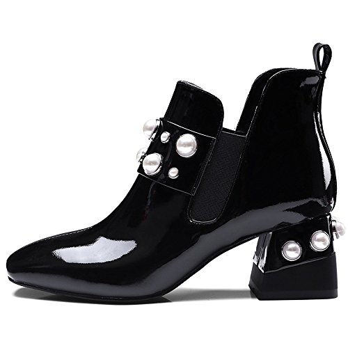 Charming Nine Leather Patent Ankle Boots Chunky Handmade Toe Pearls Seven On Square Black Women's Heel Slip UUrxngv