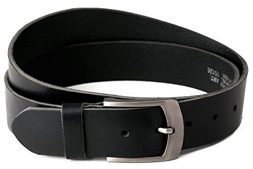 Vollledergürtel aus schwarzen Büffelleder, 38mm breit und ca. 4mm stark, kürzbar, von Fa.Volmer schwarz #10125 (Bundweite 100 cm)